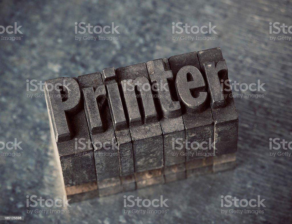 Printer In Letterpress Type royalty-free stock photo