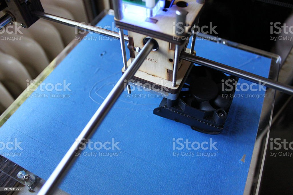3D printer printbed and extruder stock photo