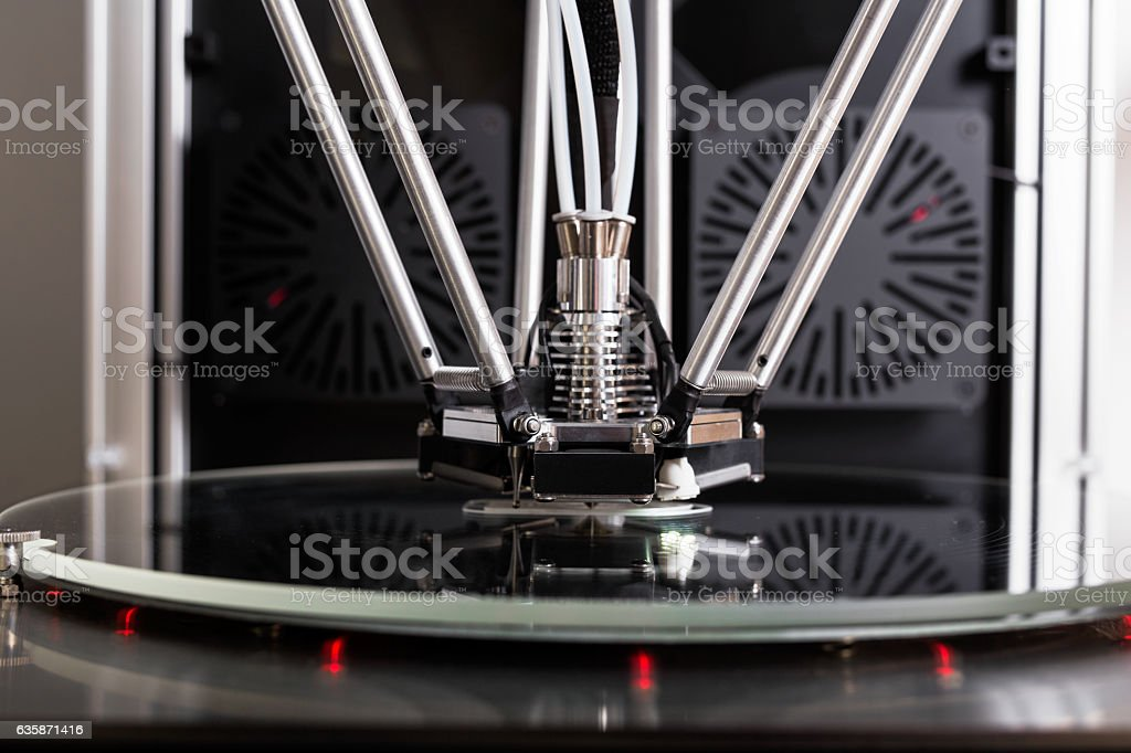 Printer printing a 3D object stock photo