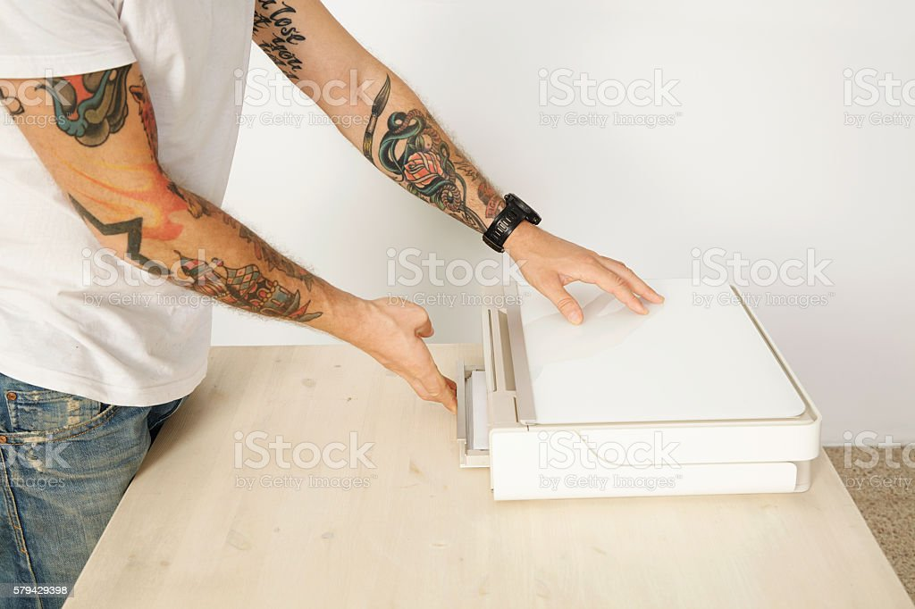 Printer scanner set stock photo