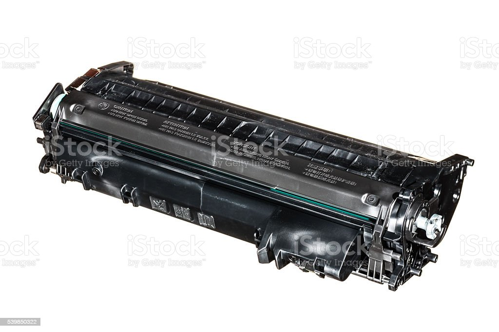 Printer toner cartridge isolated on white. stock photo