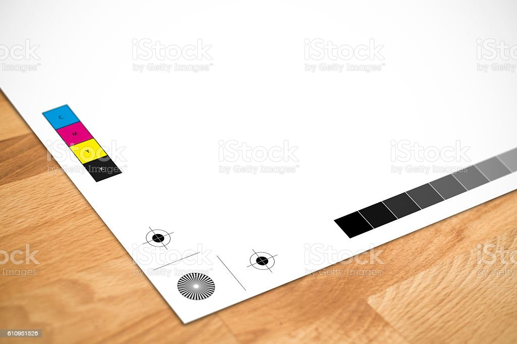 Printers Registration Marks and Colour Bars stock photo