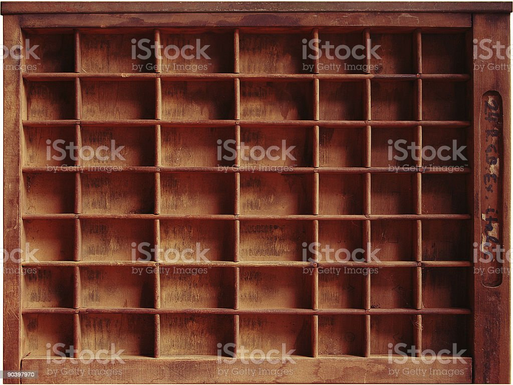 Printer's tray stock photo