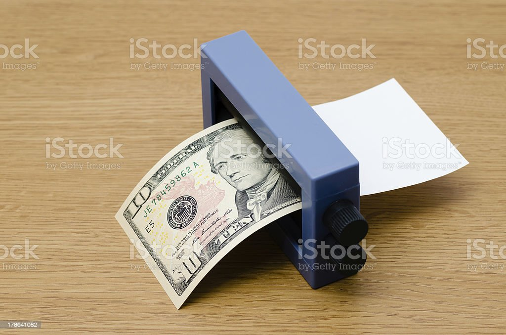 Printing a bank note stock photo