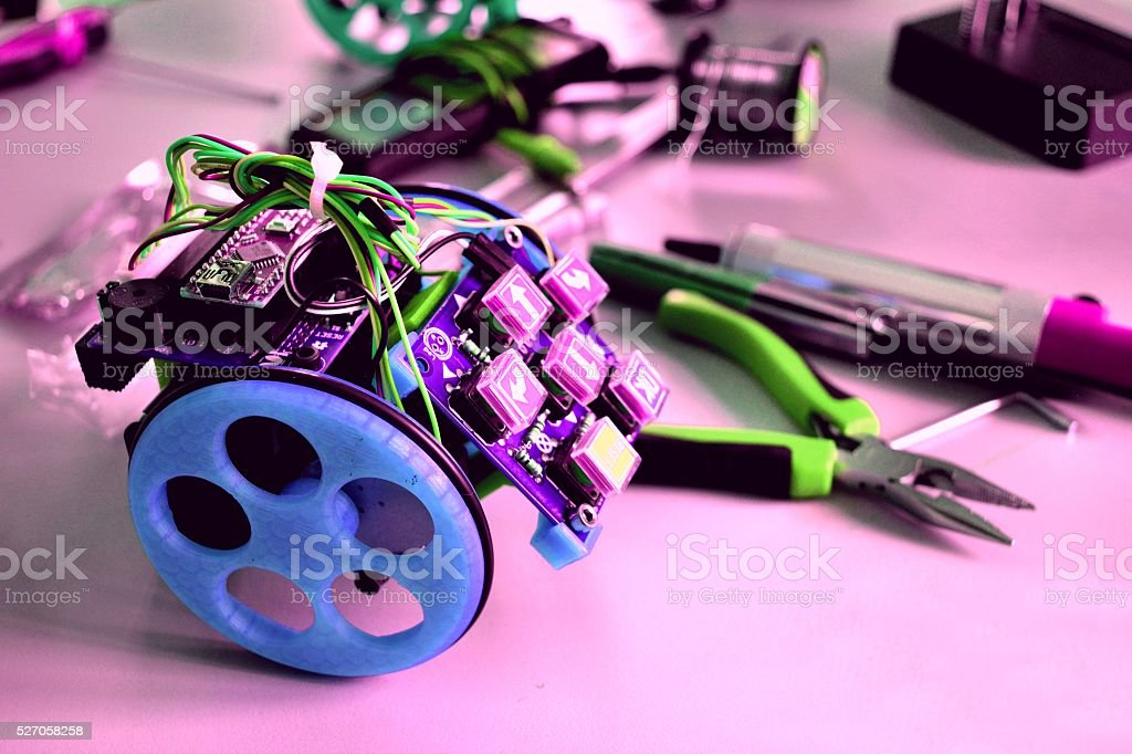 3D Printing and robotics class stock photo
