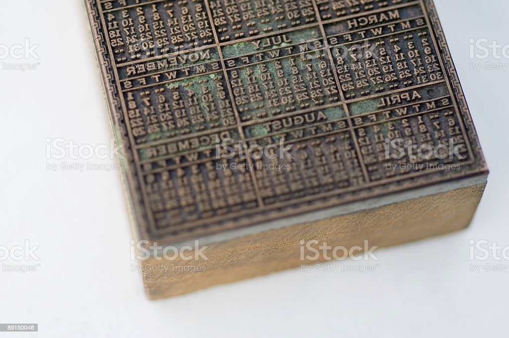 Printing Block with Calendar royalty-free stock photo