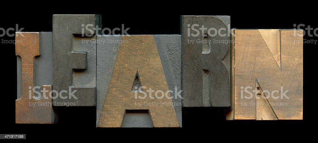 Printing blocks spelling 'Learn' stock photo