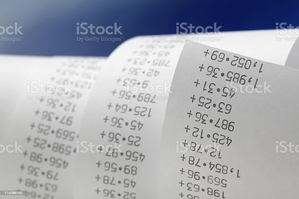 Printing Calculator paper tape rolled up royalty-free stock photo