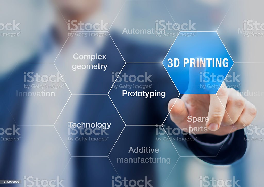 3D printing concept, innovative production technology for rapid prototyping stock photo