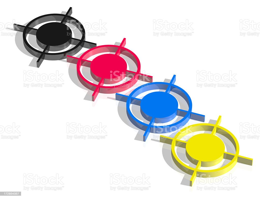 CMYK printing cross in a row royalty-free stock photo
