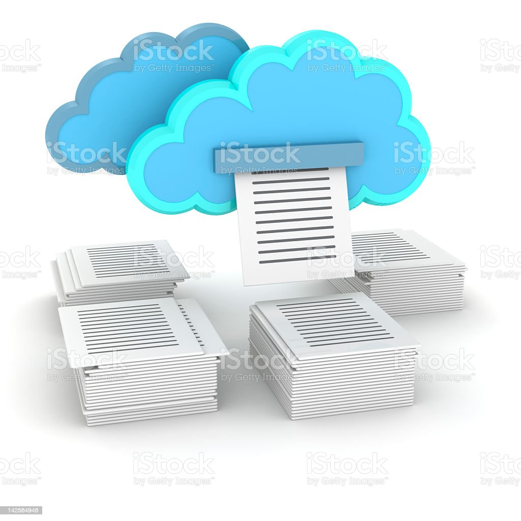 Printing documents from cloud storage stock photo