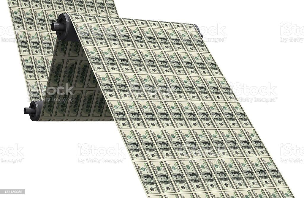 Printing dollars stock photo
