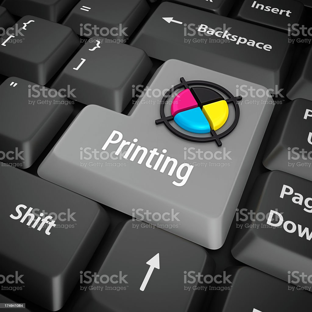 printing enter key stock photo