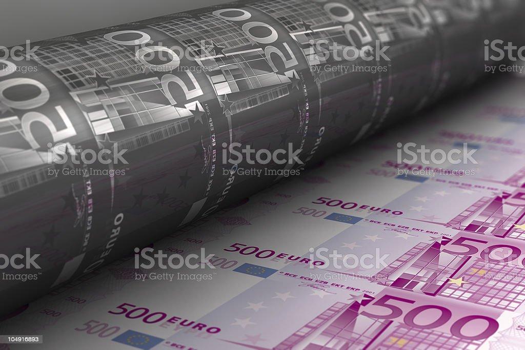 Printing Euro banknotes stock photo