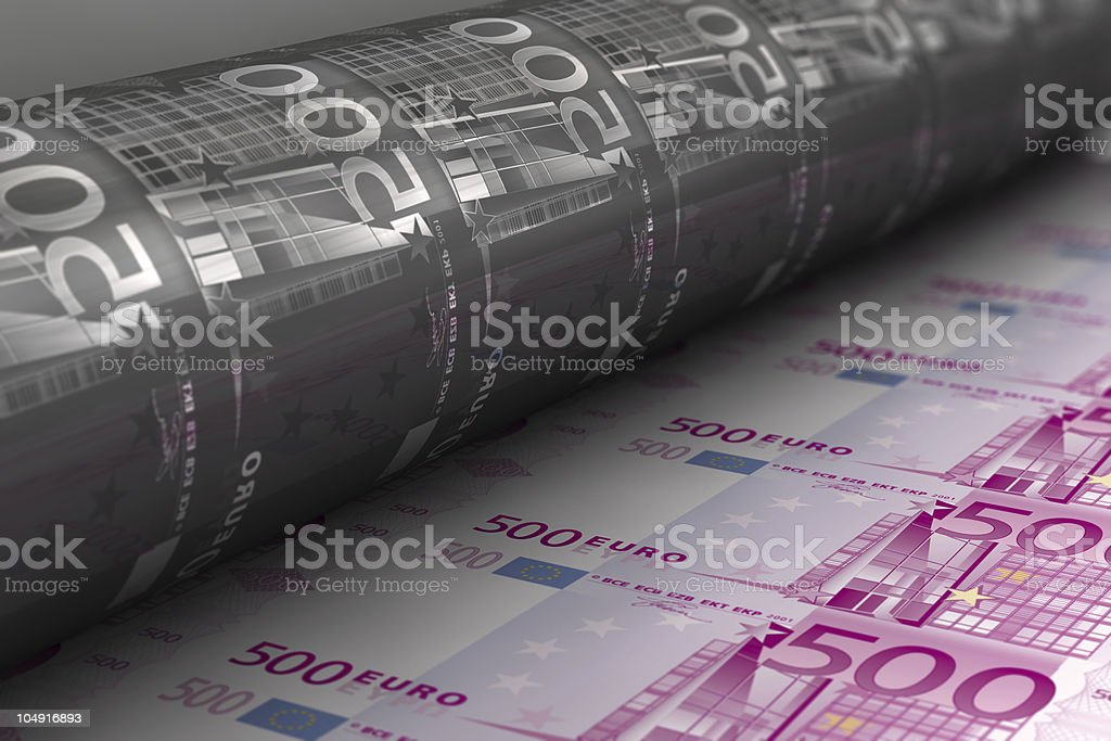 Printing Euro banknotes stock photo