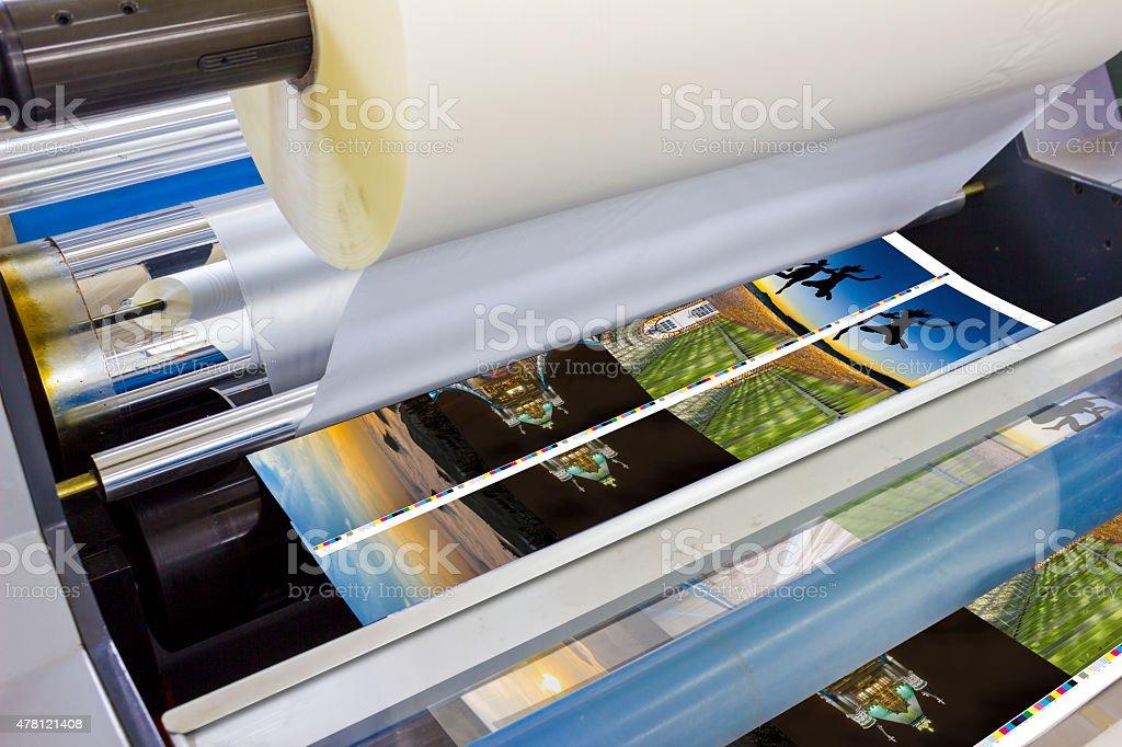 Printing machine detail of laminator stock photo