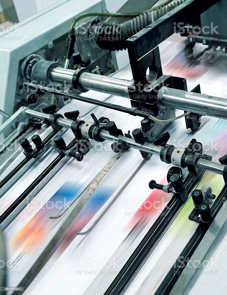 Printing offset machine stock photo