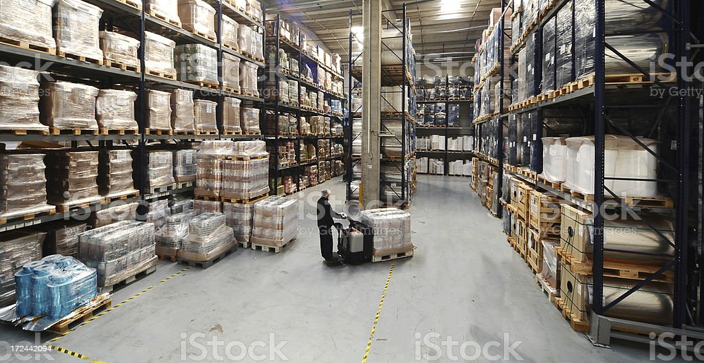 Printing plant warehouse stock photo
