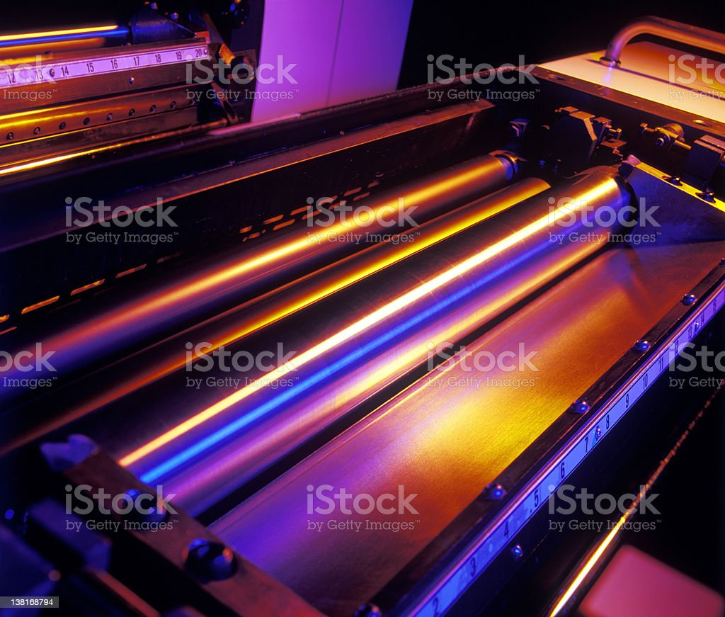 Printing press rollers stock photo