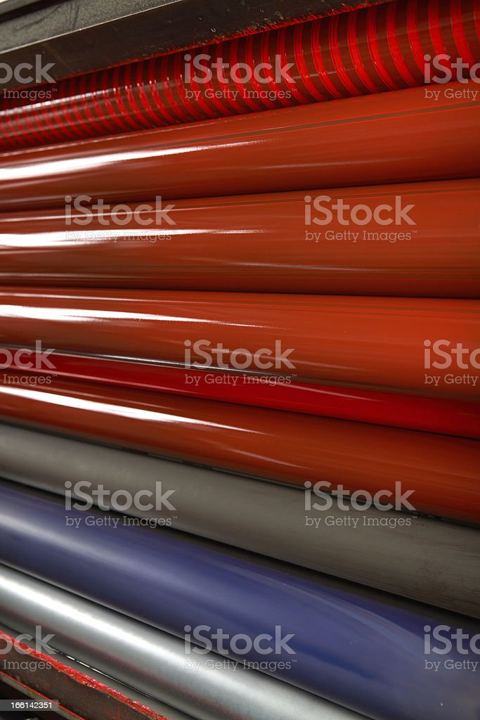 Printing Press rollers royalty-free stock photo