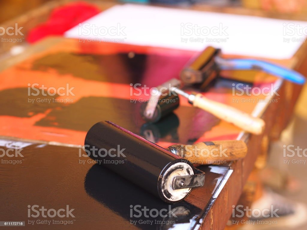 Printing roller and black ink stock photo