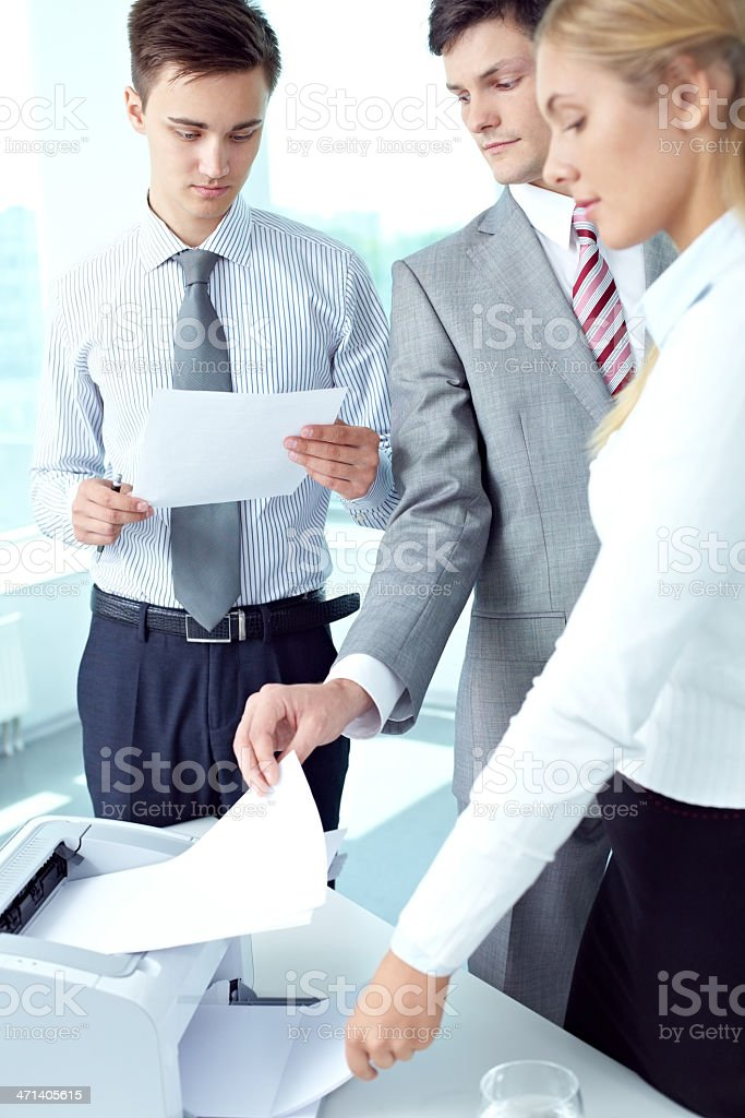 Printing spreadsheet stock photo