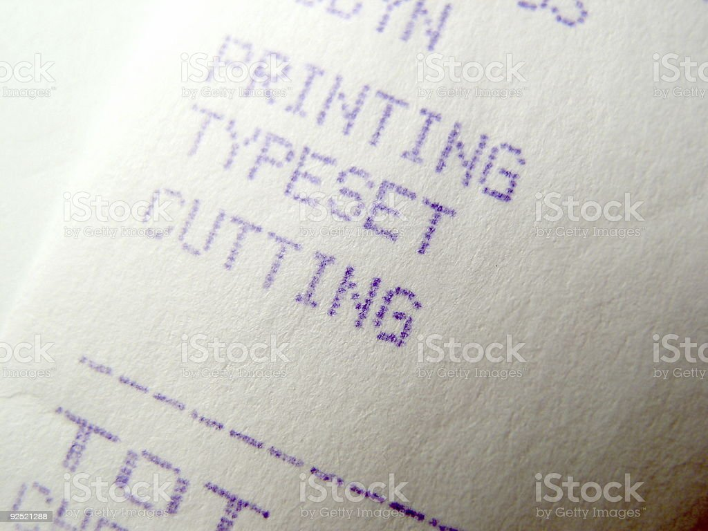 Printing, Typeset, and Cutting reciept stock photo
