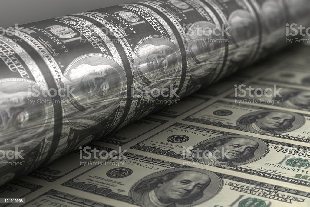Printing USA dollar bills close up stock photo