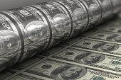 Printing USA dollar bills close up