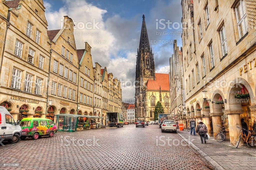 Prinzipalmarkt mainstreet of Munster, Germany stock photo
