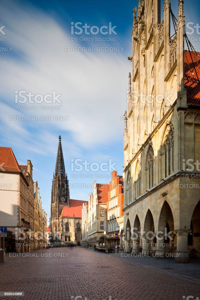 Prinzipalmarkt with Lambertikirche and Town Hall, Münster, Germany stock photo