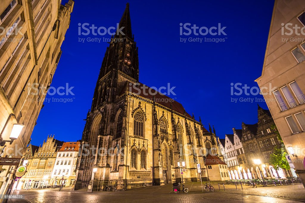 Prinzipalmarkt with Lambertikirche in Münster Westfalen stock photo