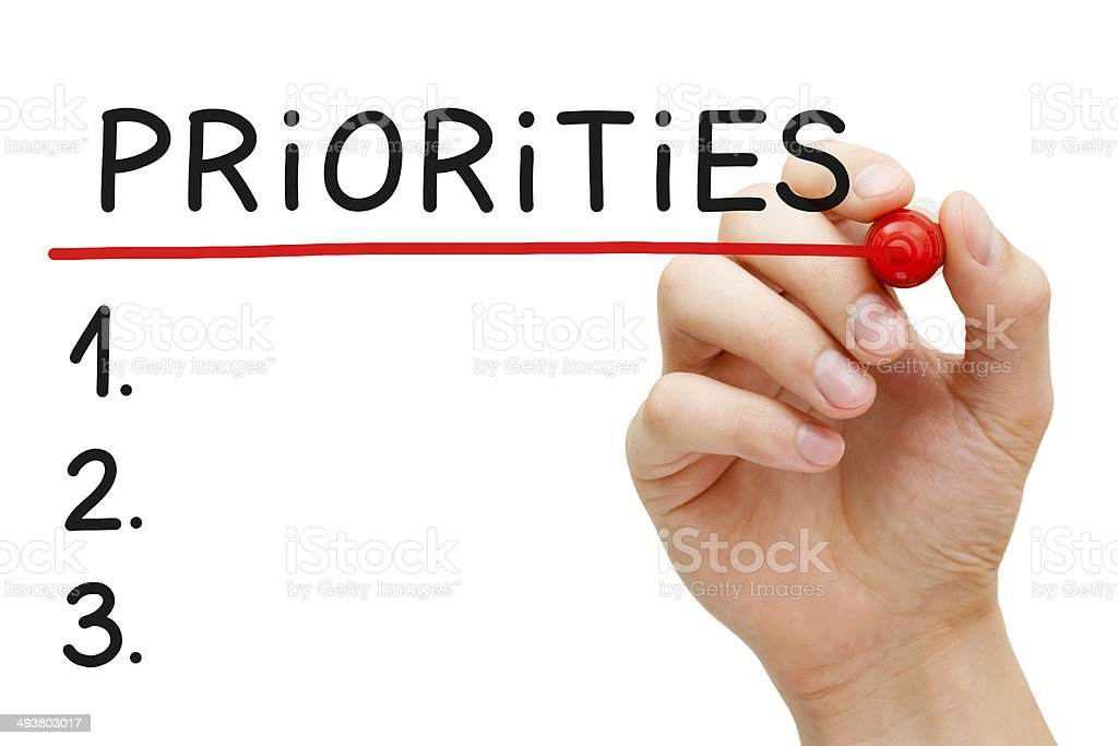 Priorities List stock photo