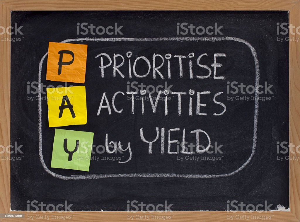 prioritise activities by yield - PAY royalty-free stock photo
