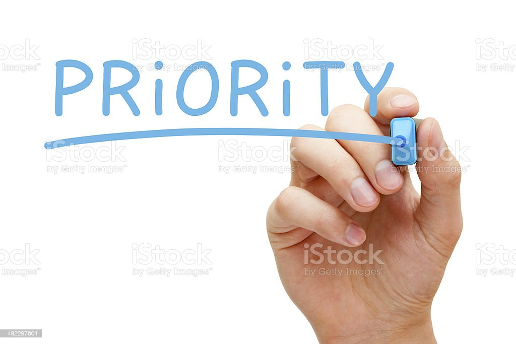 Priority Blue Marker royalty-free stock photo