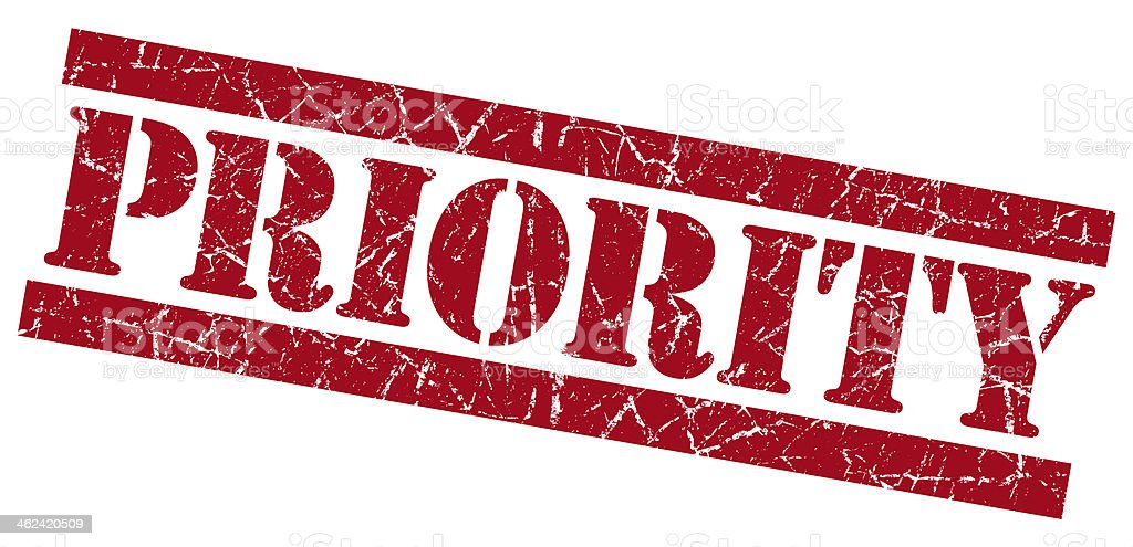 Priority grunge red stamp stock photo