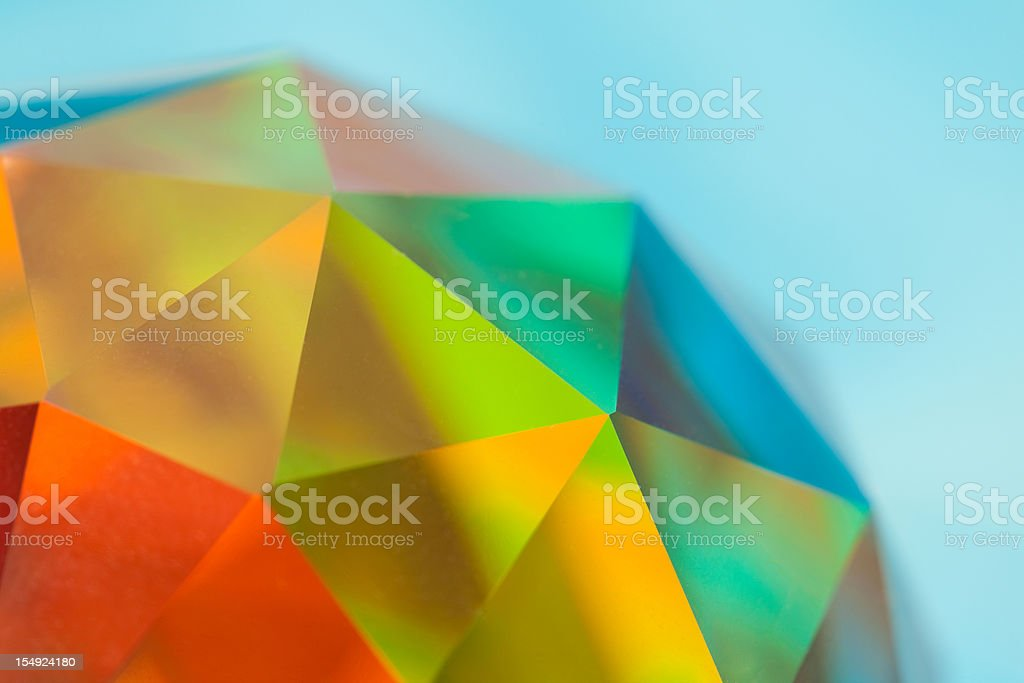 Prismatic Faceted Crystal Sphere, Color Spectrum stock photo