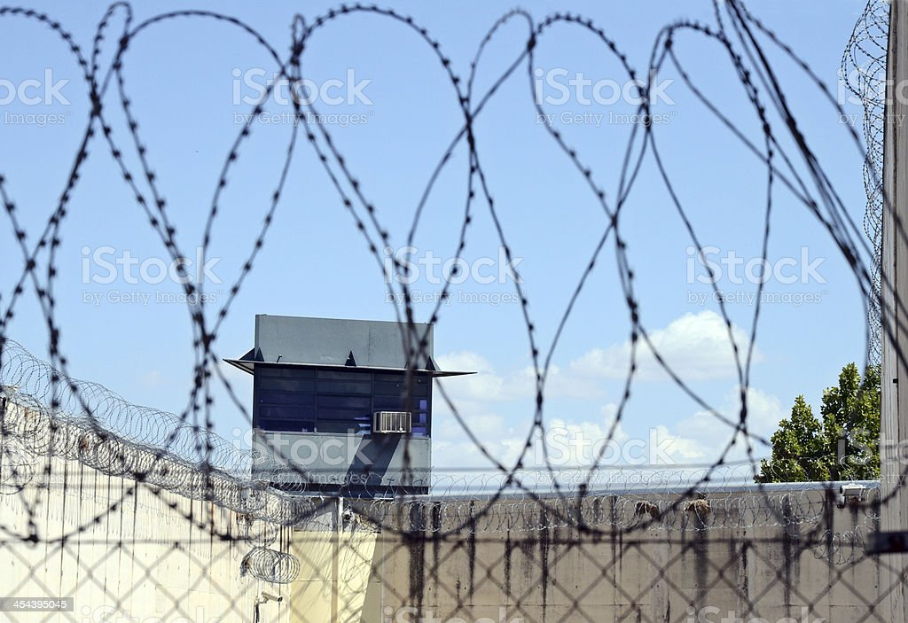 Prison and barbed wire royalty-free stock photo