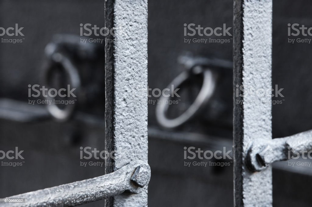 Prison Cell Torture Restraint Manacles stock photo
