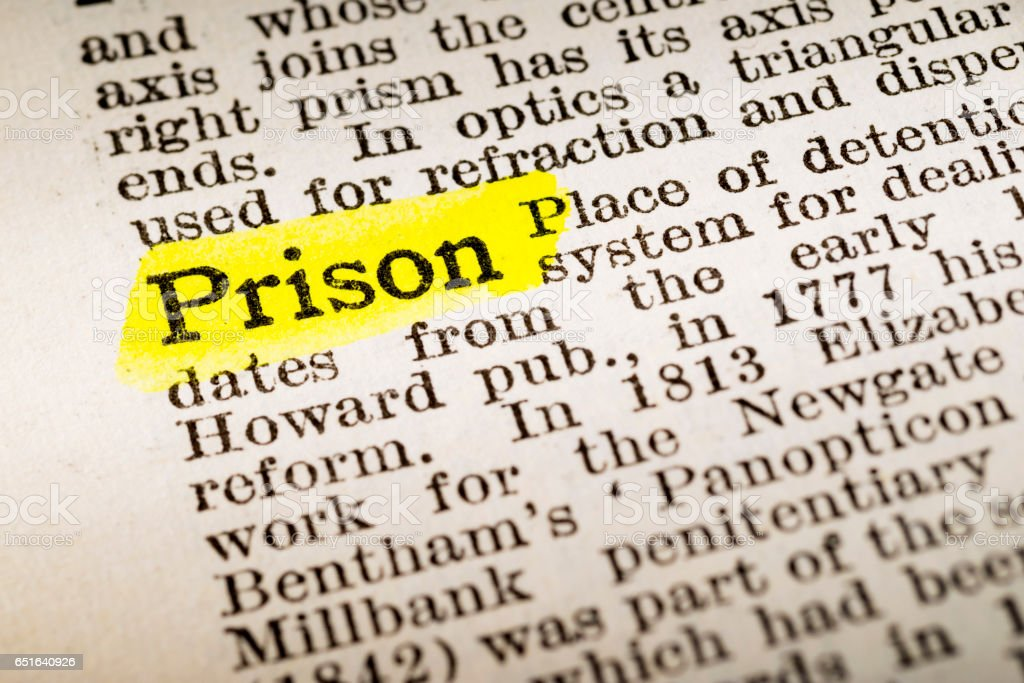 Prison - dictionary definition highlighted stock photo