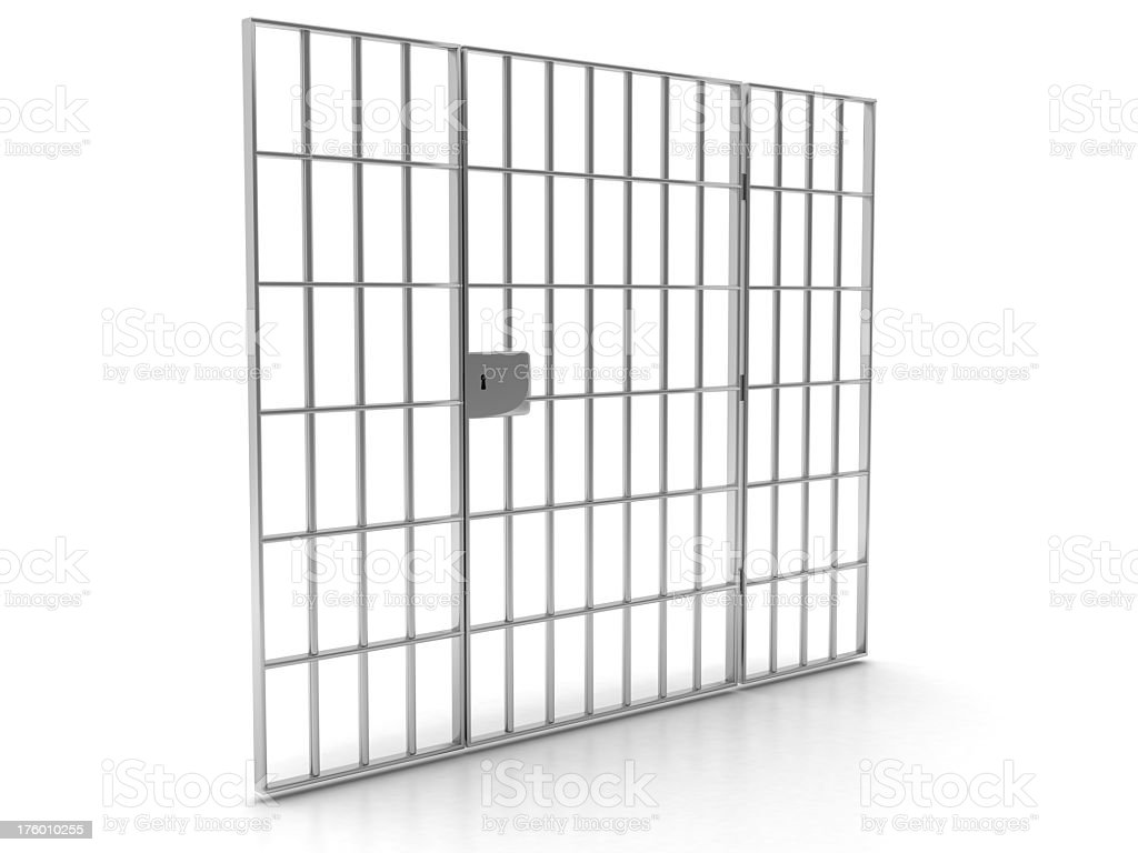 Prison door bars with lock against white background royalty-free stock photo