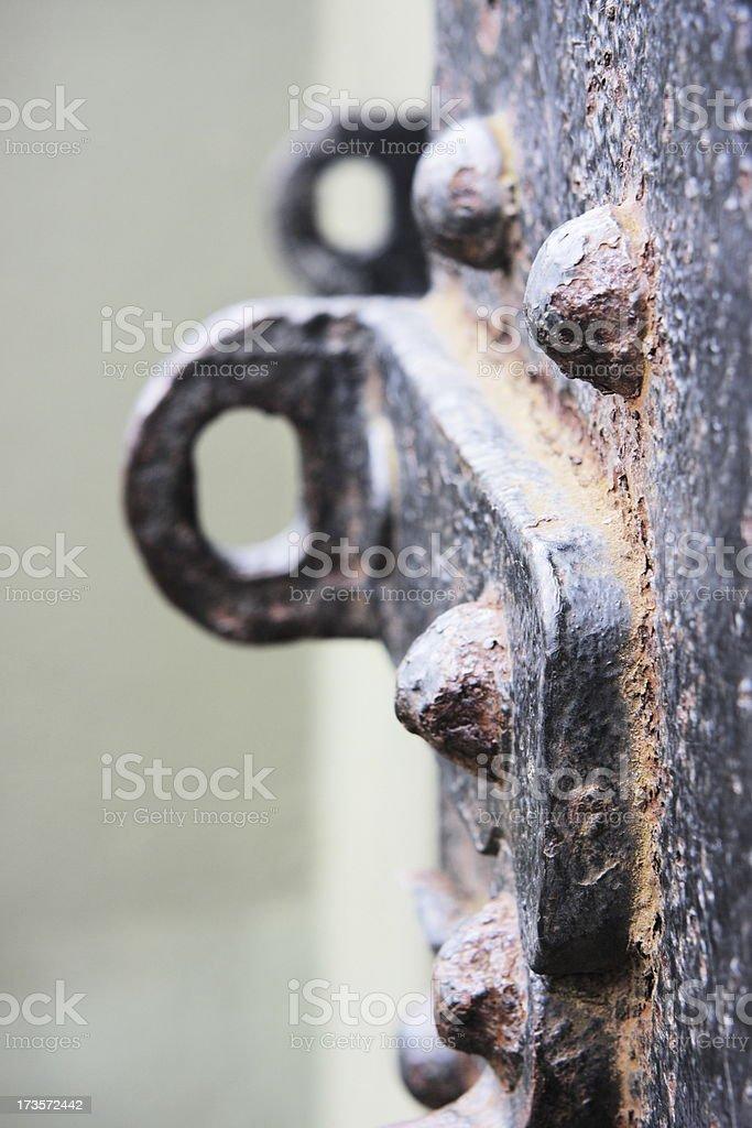 Prison Door Iron Lock Handle royalty-free stock photo