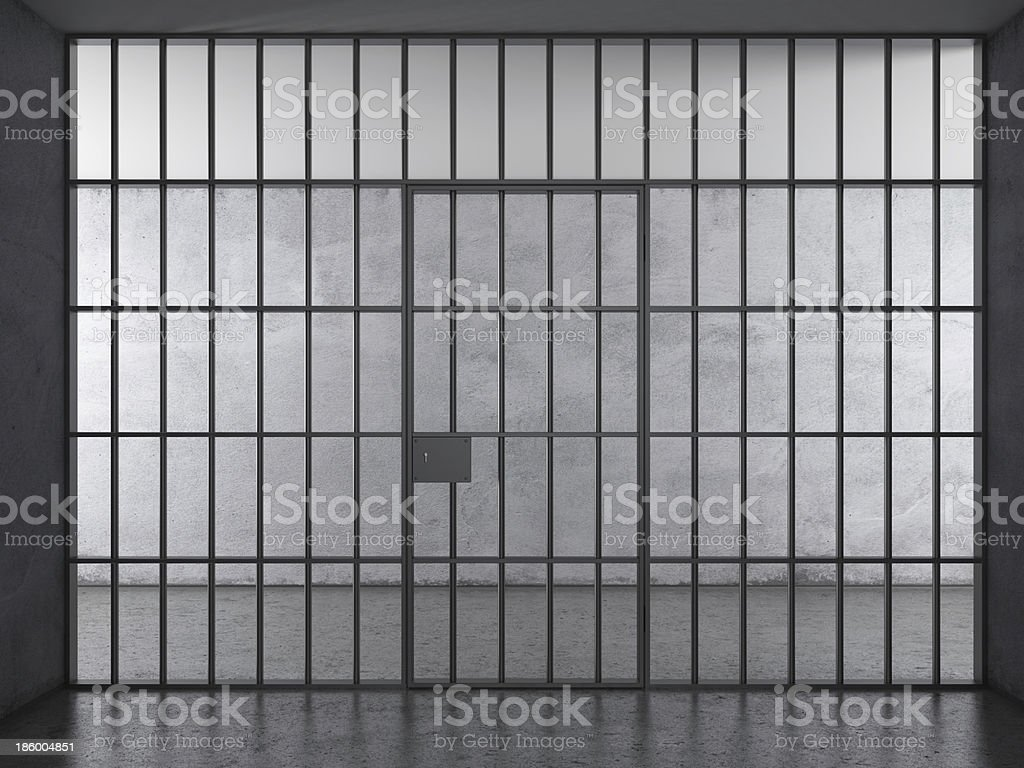 Prison interior with dramatic light royalty-free stock photo