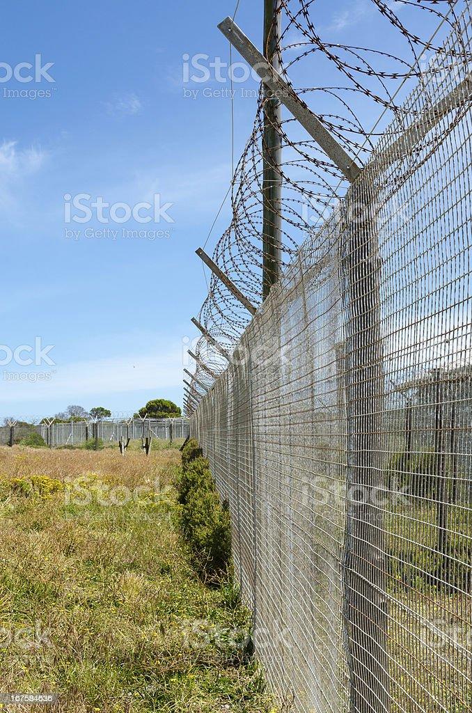 Prison Razor Wire Fence royalty-free stock photo