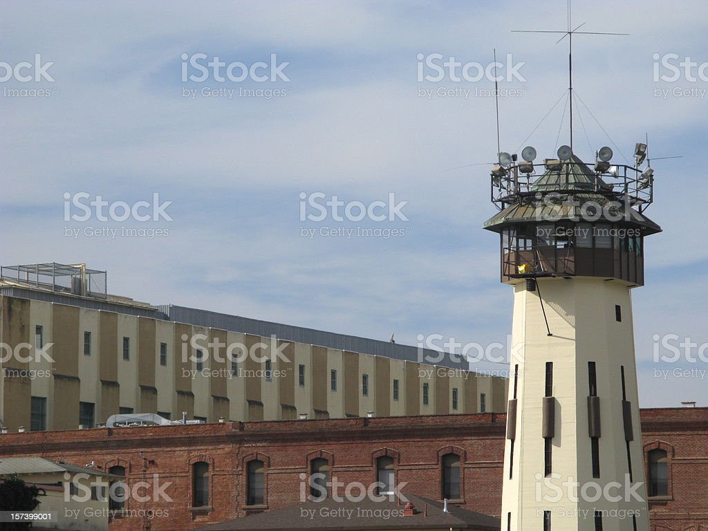 Prison San Quentin Guard Lookout Tower California stock photo