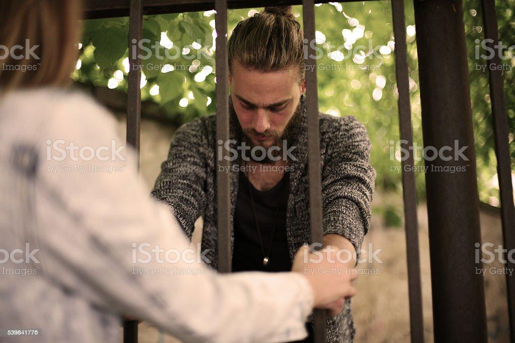 Prison visit. stock photo