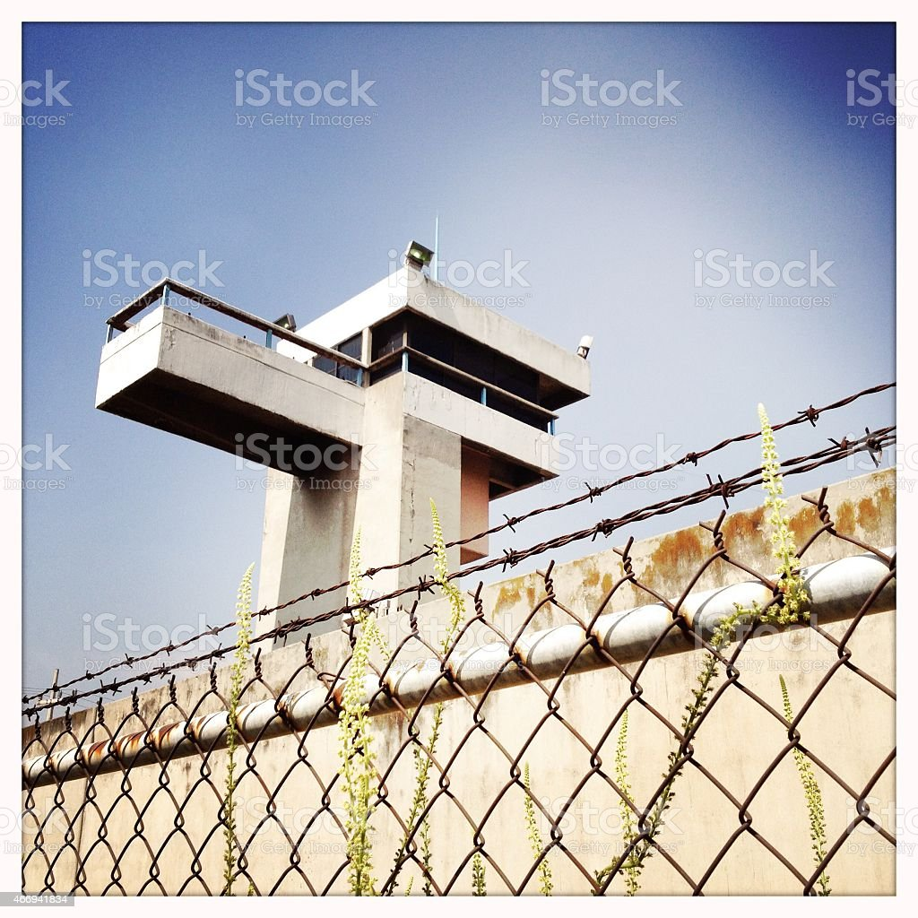 Prison Watch Tower stock photo