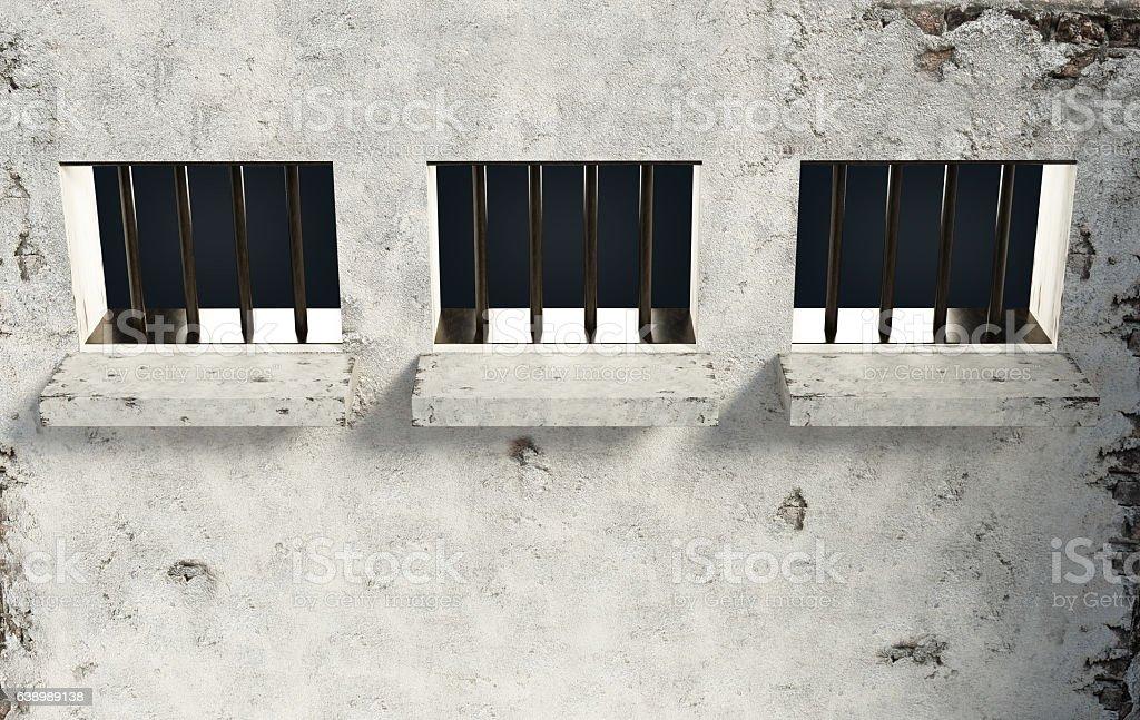 Prison windows stock photo