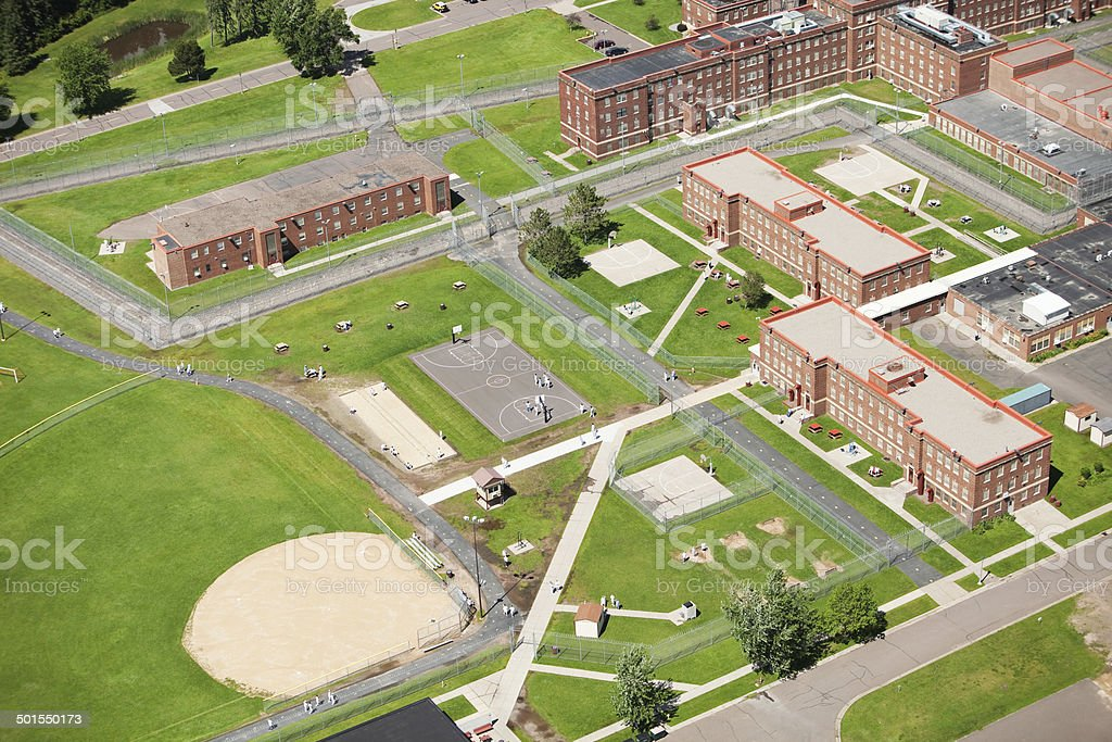 Prison Yard Aerial View stock photo