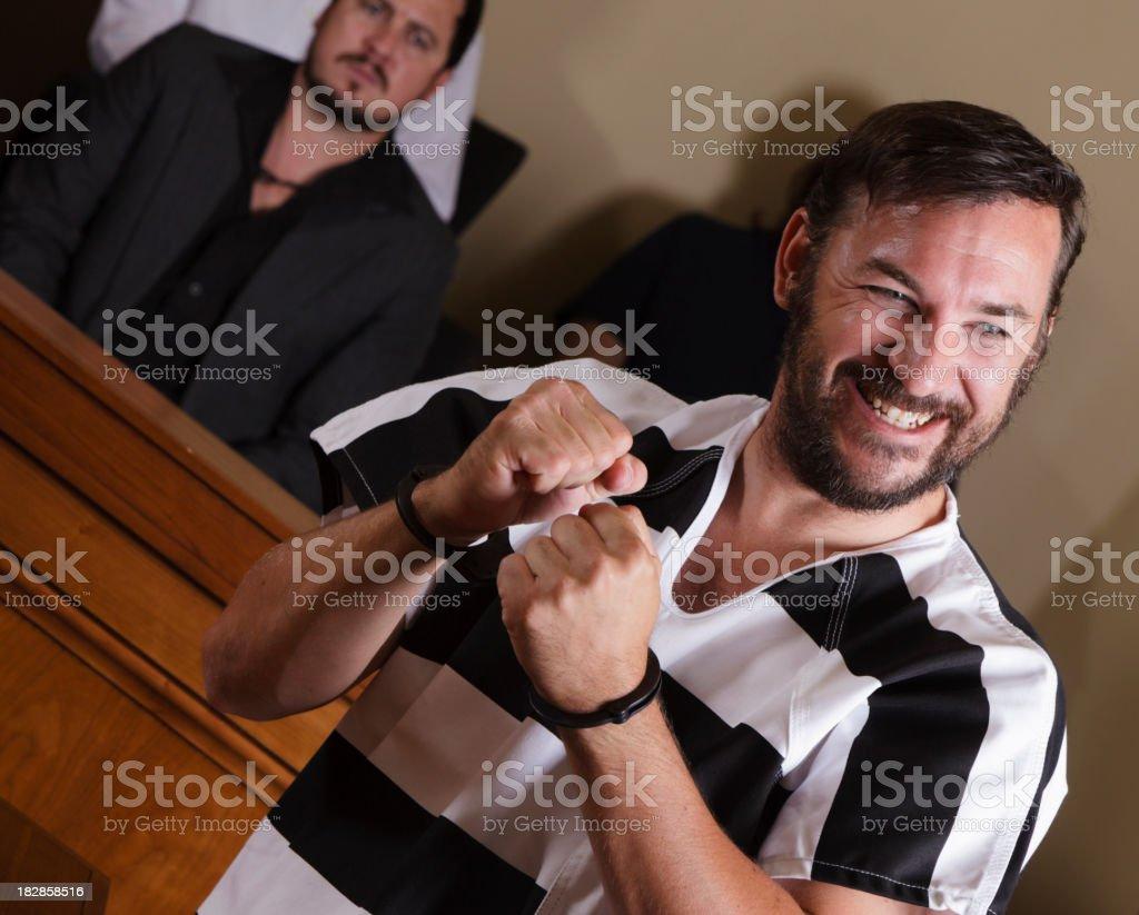 Prisoner Celebrating in Court royalty-free stock photo